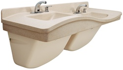 FL-2H Frequency Lavatory system, Double Station (high arch), Includes faucets